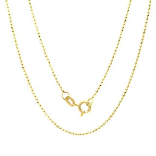 Sterling Essentials 14k Yellow Gold Diamond-cut Ball Chain Necklace