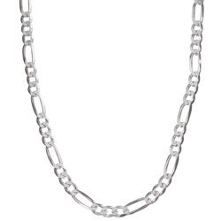Sterling Essentials Sterling Silver 24-inch Diamond-cut Figaro Chain (4.5 mm)