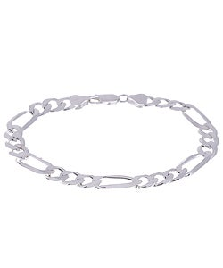 Sterling Essentials Sterling Silver 7-inch Diamond-cut Figaro Chain Bracelet (7.5 mm)