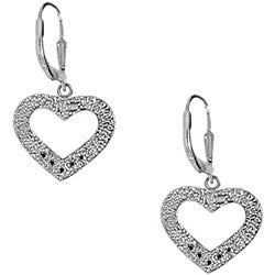 Sterling Silver Beaded Heart Dangle Earrings
