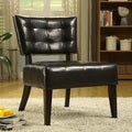 ETHAN HOME Charlotte Brown Faux Leather Armless Occasional Chair