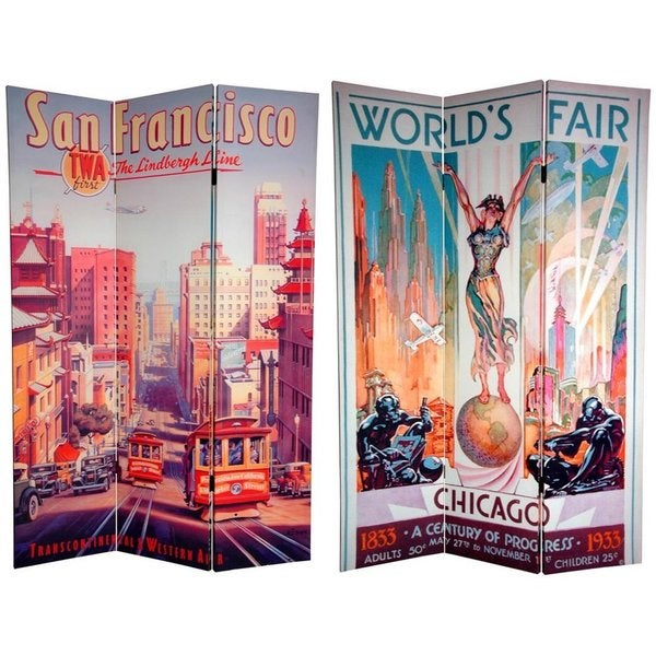 Canvas 6-foot San Francisco/ World's Fair Room Divider (China)