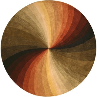 Hand-tufted Round Swirl Wool Rug (4' Round)