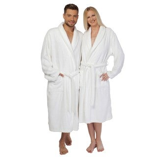 Authentic Hotel Spa Unisex White Turkish Cotton Terry Cloth Bath Robe