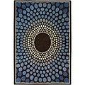 Hand-Tufted Mandara Brown Geometric Wool Rug (7'9 x 10'6)