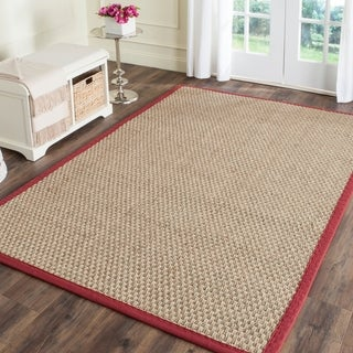 Safavieh Handwoven Sisal Natural/Red Seagrass Area Rug (5' x 8')