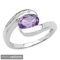 Malaika Sterling Silver Oval Amethyst, Blue Topaz Ring