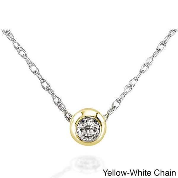 Annello 14k Gold 1/10ct TDW Diamond Solitaire Necklace (H-I, I1-I2)