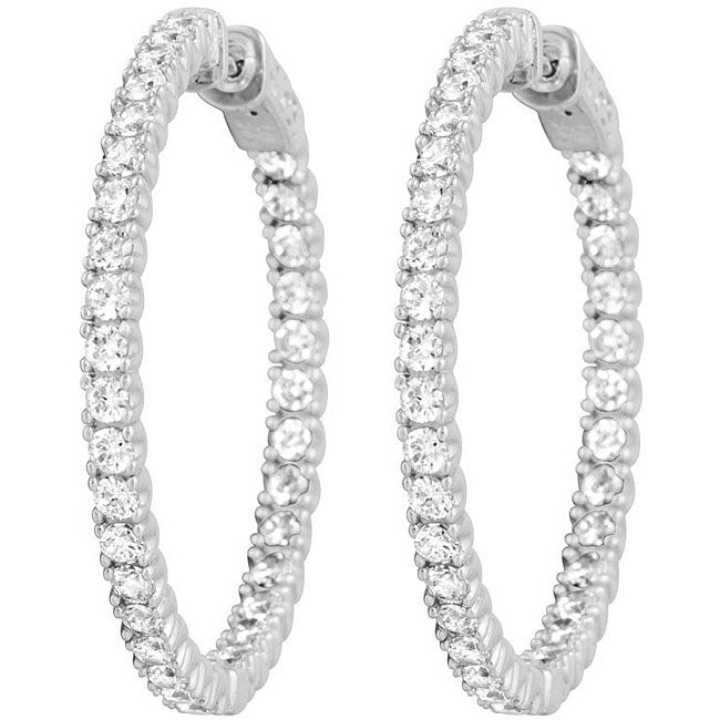 Platinumplated Sterling Silver Cubic Zirconia Inside-out Hoops