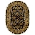 Safavieh Handmade Traditions Black/ Light Brown Wool Rug (7'6 x 9'6 Oval)