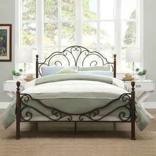 TRIBECCA HOME LeAnn Graceful Scroll Bronze Iron Bed Frame