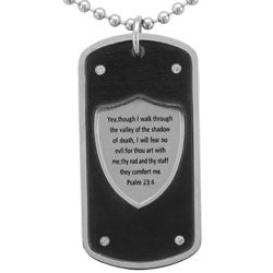 Stainless Steel Men's 1/10ct TDW Diamond Dog Tag Necklace (I-J, I2)
