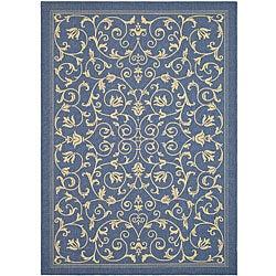 Safavieh Indoor/ Outdoor Resorts Blue/ Natural Rug (9' x 12')