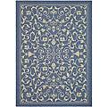 Safavieh Indoor/ Outdoor Resorts Blue/ Natural Rug (4' x 5'7)