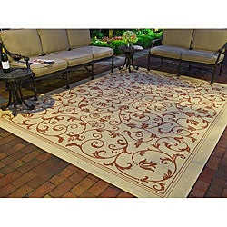 Safavieh Indoor/ Outdoor Resorts Natural/ Terracotta Rug (4' x 5'7)
