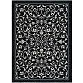 Safavieh Indoor/ Outdoor Resorts Black/ Sand Rug (6'7 x 9'6)