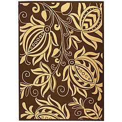 Safavieh Indoor/ Outdoor Andros Chocolate/ Natural Rug (9' x 12')
