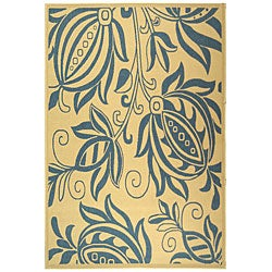 Safavieh Indoor/ Outdoor Andros Natural/ Blue Rug (9' x 12')
