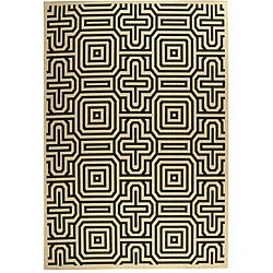 Safavieh Indoor/ Outdoor Matrix Sand/ Black Rug (9' x 12')