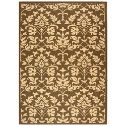 Safavieh Indoor/ Outdoor Seaview Chocolate/ Natural Rug (4' x 5'7)
