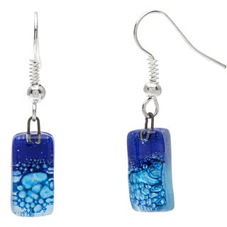 Silver Blue Glass Drop Earrings (Chile)