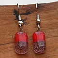 Silver Red Glass Drop Earrings (Chile)