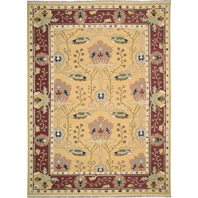 Nourison Samarkand Flatweave Reversible Yellow Wool Rug (9'9 x 13'9)