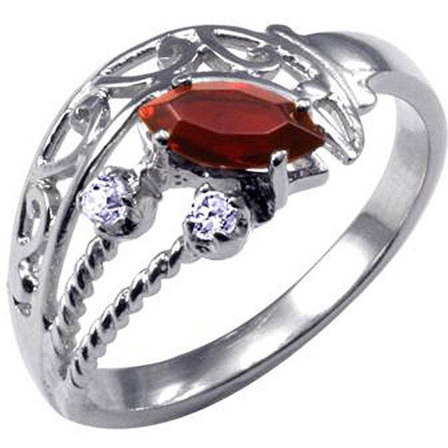 Simon Frank 14k White Gold Overlay Red and White CZ Spanish Lace Ring