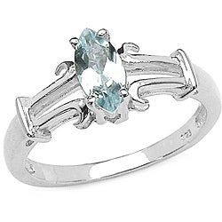 Malaika Sterling Silver Marquise-cut Aquamarine Ring