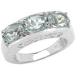 Malaika Sterling Silver Oval-cut Aquamarine 3-stone Ring