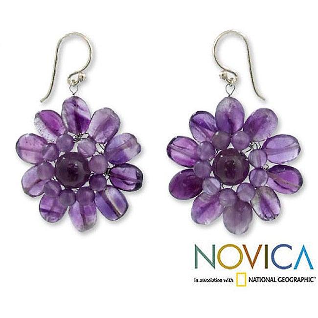 Sterling Silver 'Chrysanthemum' Amethyst Floral Earrings (Thailand)