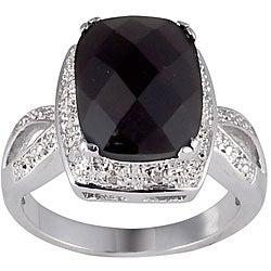 Sterling Silver Onyx and 1/10ct TDW Diamond Ring (J-K, I2-I3)