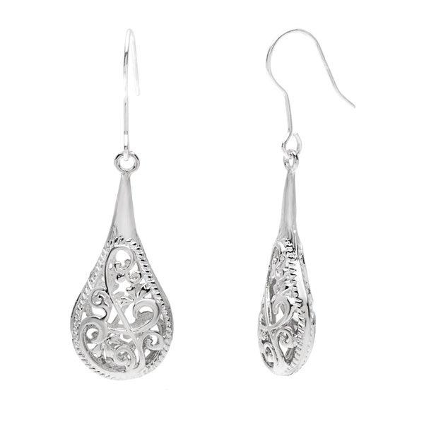 Handmade One-inch Silver Filigree Raindrop Earrings (China)