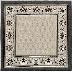 Safavieh Indoor/ Outdoor Royal Sand/ Black Rug (7'10 Square)