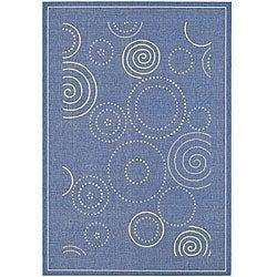 Safavieh Indoor/ Outdoor Ocean Blue/ Natural Rug (6'7 x 9'6)