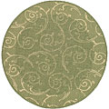 Safavieh Indoor/ Outdoor Oasis Olive/ Natural Rug (6'7 Round)