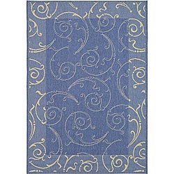 Safavieh Indoor/ Outdoor Oasis Blue/ Natural Rug (7'10 x 11')
