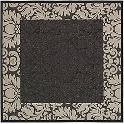 Safavieh Indoor/ Outdoor Kaii Black/ Sand Rug (7'10 Square)