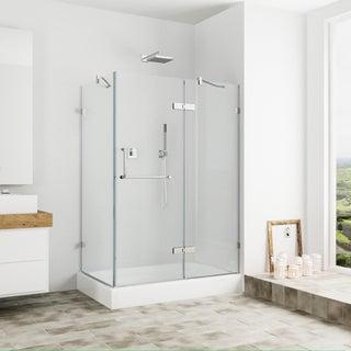 Vigo Frameless Clear Shower Enclosure and Right Base (32 x 40)