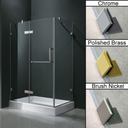 Vigo Frameless Clear Glass Shower Enclosure with Left Base (36 x 48)