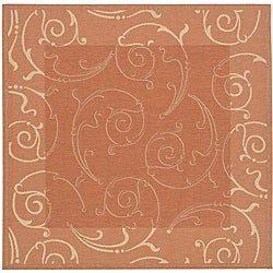 Safavieh Indoor/ Outdoor Oasis Terracotta/ Natural Rug (6'7 Square)
