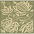 Safavieh Indoor/ Outdoor Andros Olive/ Natural Rug (7'10 Square)