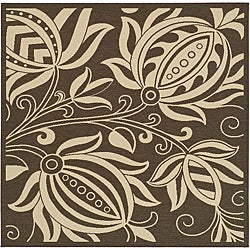 Safavieh Indoor/ Outdoor Andros Chocolate/ Natural Rug (6'7 Square)
