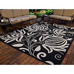Safavieh Indoor/ Outdoor Andros Black/ Sand Rug (6'7 Square)