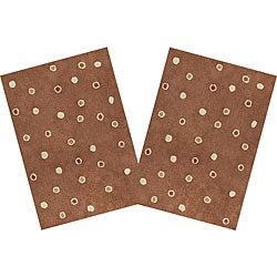 Set of 2 Handmade Chocolate Dots Cotton Rugs (2'6 x 4'2)