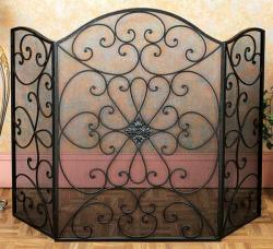 Black Metal Mesh Fireplace Screen