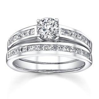 18k White Gold 1 1/3ct TDW Diamond Bridal Ring Set (H-I, SI1-SI3)
