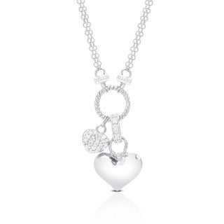 Finesque Sterling Silver 1/4ct TDW Diamond Double-heart Charm Necklace with Red Bow Gift Box