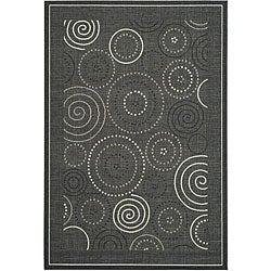 Safavieh Indoor/ Outdoor Ocean Black/ Sand Rug (7'10 x 11')