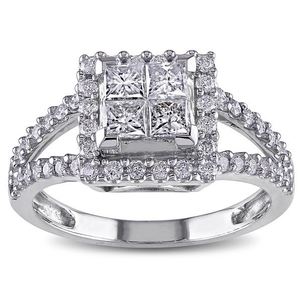 Miadora 14k White Gold 1ct TDW Diamond Princess Cut Halo Engagement Ring (H-I, I2-I3)